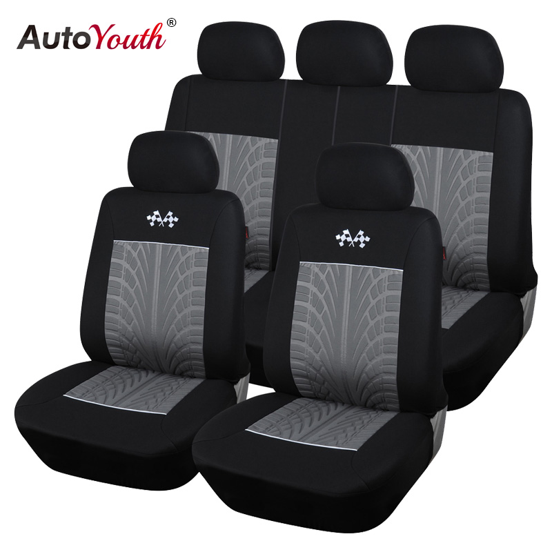 AUTOYOUTH New Style Embossed Polyester Car Seat Cover Universal Fit Most Seat Car Seat Protector Gray