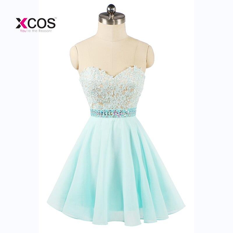 Crystal Beads Aqua Short   Cocktail     Dresses   2018 Sweetheart Chiffon Homecoming Party   Dress   Graduation Gown Vestidos De Festa Curto