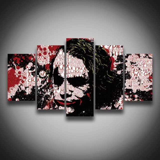 Big Sale ! on sale  Printed Modular picture Joker painting  canvas 5 pcs abstract wall decor for home room Canvas art poster