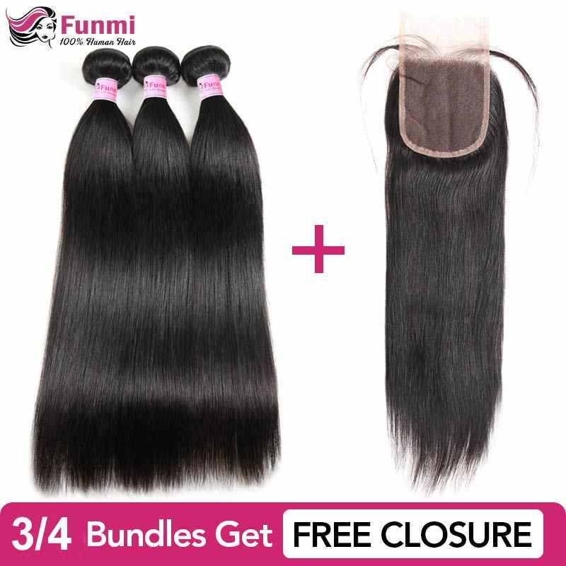 Buy Peruvian Straight Hair Bundles Get Free Closure Funmi Unprocessed Virgin Human Hair Bundles Natural Color 1/3/4 Bundle Deal