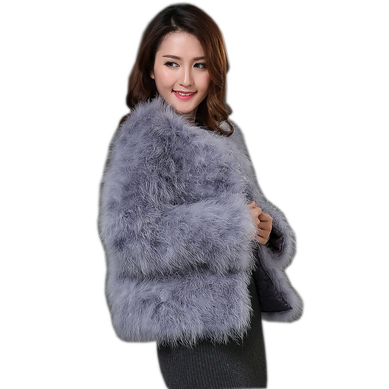 61c36c6fd87 Harppihop 13 colors fashion sexy Ostrich wool turkey fur women coat feather  short plus size jacket