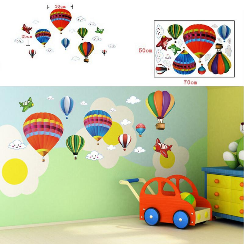 Colorful Hot Air Balloons Wall Paper Home Decor Environmental Wall Sticker Children S Room Cartoon Classroom Layout Wallpapers