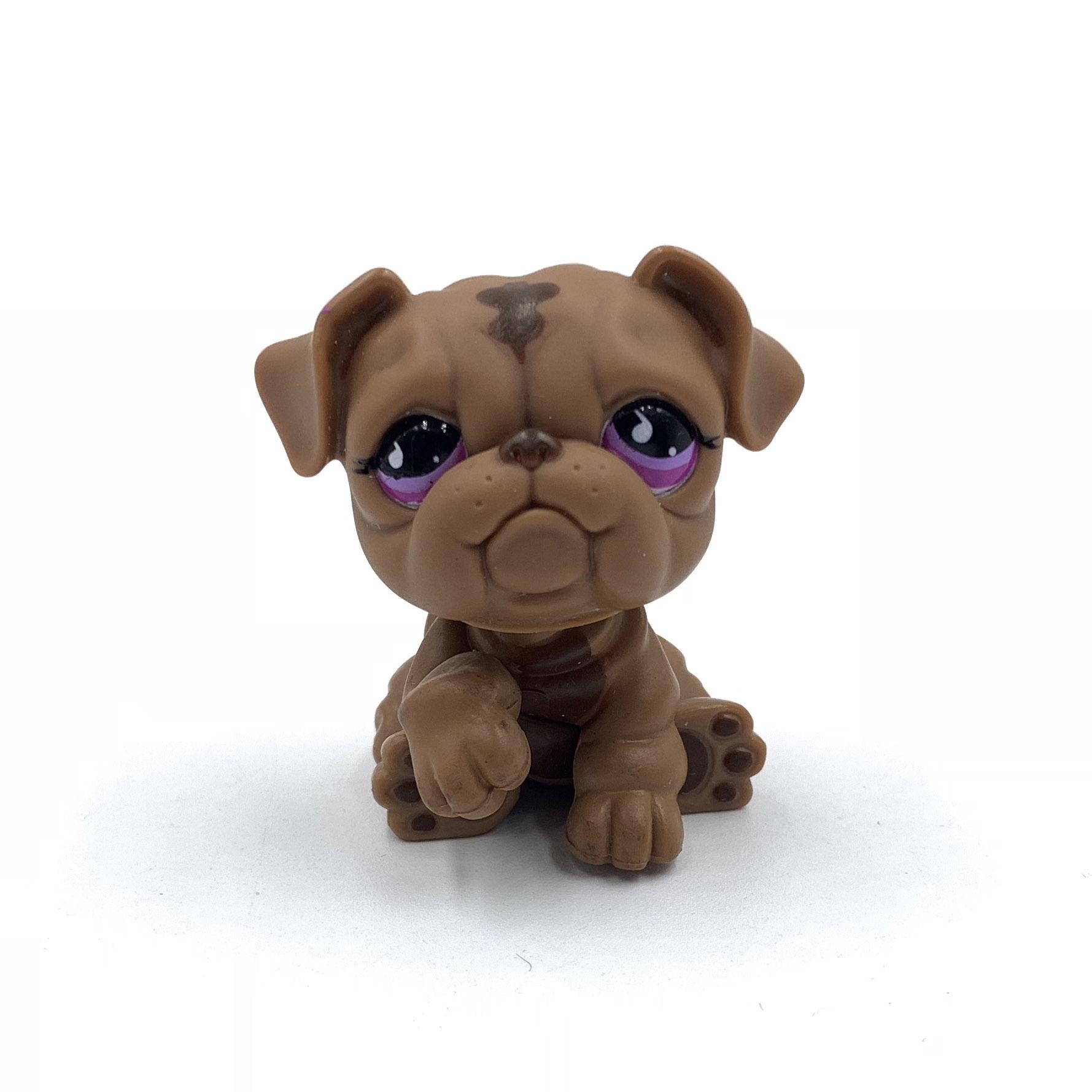 Old Pet Shop Toys BULLDOG Dog 881 Bronw Dog With Pink Eyes Old Original Model Toy For Kids Christmas Gift