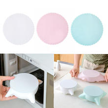 1pc Food Grade Silicone Wrap Food Fresh Keeping Saran Lid High Stretch Seal Vacuum Container Cover Storage Lids Kitchen Tool(China)