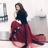 Goddess Fan suit skirt Yang Jixin machine is very beautiful mesh skirt heavy work beaded two piece fashion net red sweater
