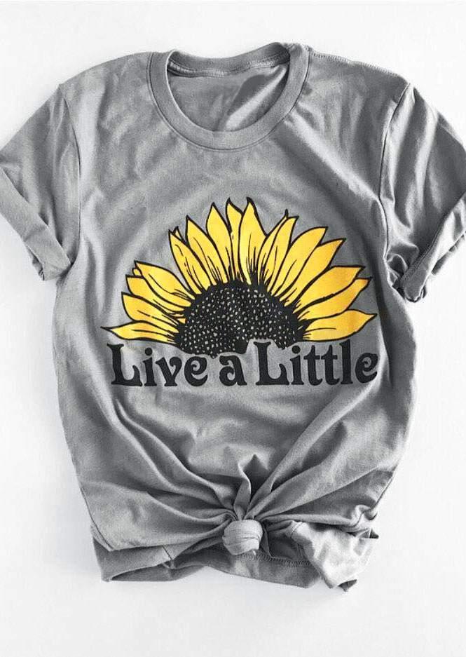 Neue Frauen T-Shirt Live EIN Wenig Sonnenblumen Kurze Hülse O-ansatz T-Shirt Weibliche Licht Grau 2018 Sommer t shirt Damen Tops t