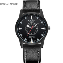 Hannah Martin Luxury brand men outdoor sport watches casual men's quartz leather strap waterproof watch wristwatches male clock