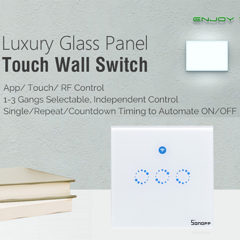 Sonoff T1 1 2 3 Gang Wifi Smart Rf  App  Touch Control Wall Light Switch Timer 86 Type Uk Panel