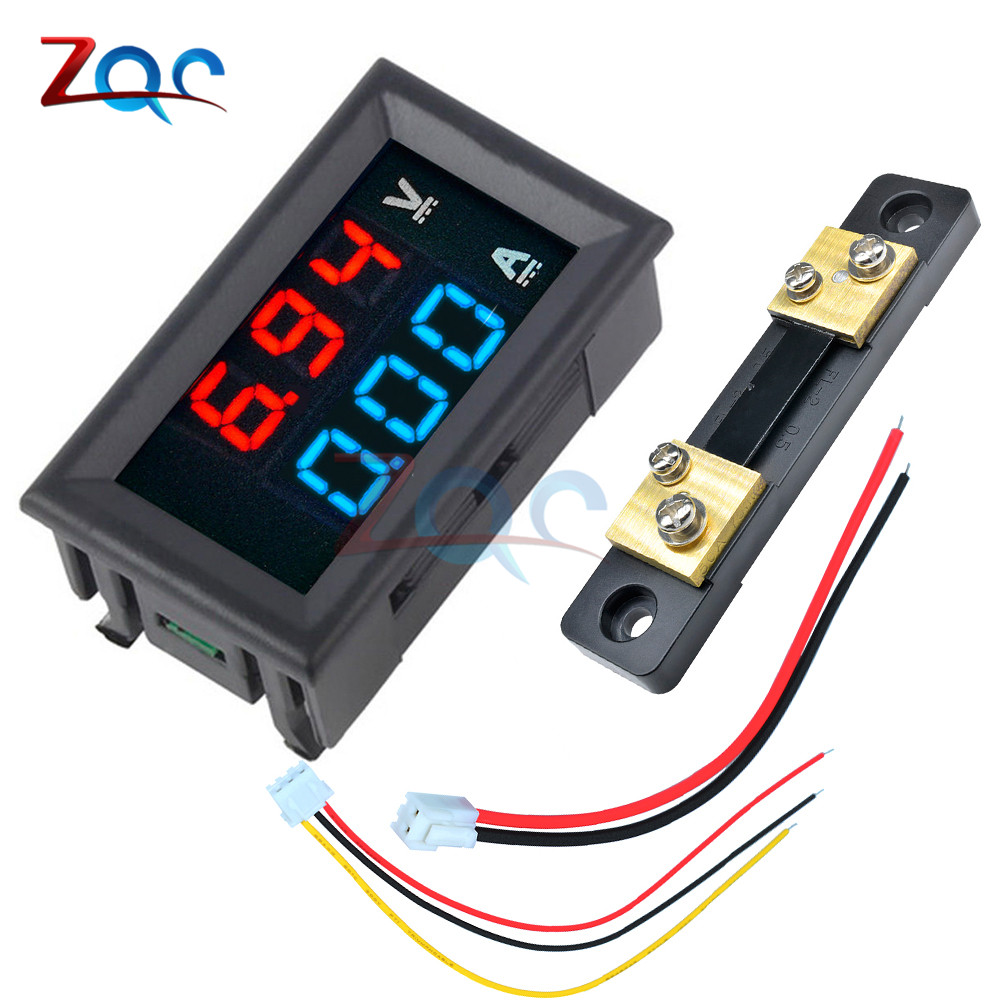 Mini <font><b>Digital</b></font> Voltmeter Ammeter <font><b>DC</b></font> <font><b>100V</b></font> <font><b>50A</b></font> Panel Amp Volt Voltage Current Meter Detector Tester 0.56