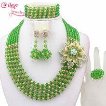 Classique Femmes bijoux Nigérians De Mariage de mariée Perles Africaines Parures Nouveau Arrivé dubaï vert Collier setE1047