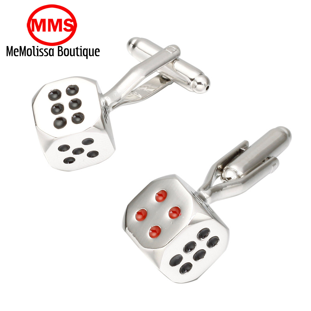 MeMolissa  Fashion jewelry square lucky gamblers silver men dice cufflinks French shirt sleeve cuff links