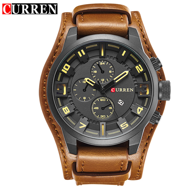 Relogio Masculino Curren Steampunk Sports Men Watch Top Brand Luxury Army Military Uhr Quartz Men Wrist
