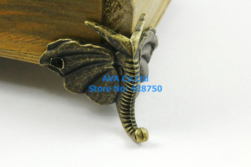 4 Pieces Antique Brass Jewelry Box Feet Animal Box Leg 46x32mmin
