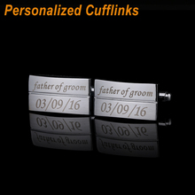 Free Shipping Personalized NameCufflinks Brand Designed Wedding Sliver Customized Cufflink For Mens Gifts Laser Engraved CL-020