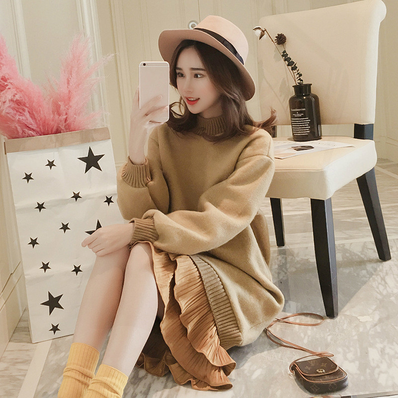 e3e06f59ebd8d Fashion Pleated Pregnancy Dress Autumn Winter Maternity Clothes for Pregnant  Women Dresses Elegant Loose Maternity Sweater 2018 - aliexpress.com -  imall.com