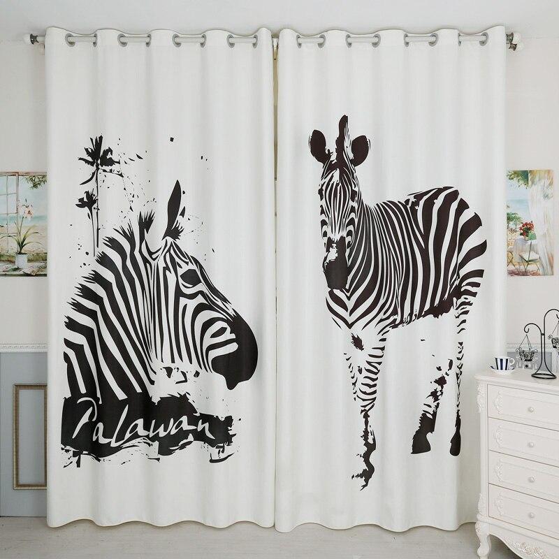 3d rideau occultant dessin animé noir et blanc rayé motif zèbre épaissir velours tissu chambre décor rideaux pour salon