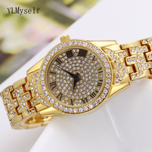 Nice design round watches birthday gift bright stones high quality women bracelet watch ladies