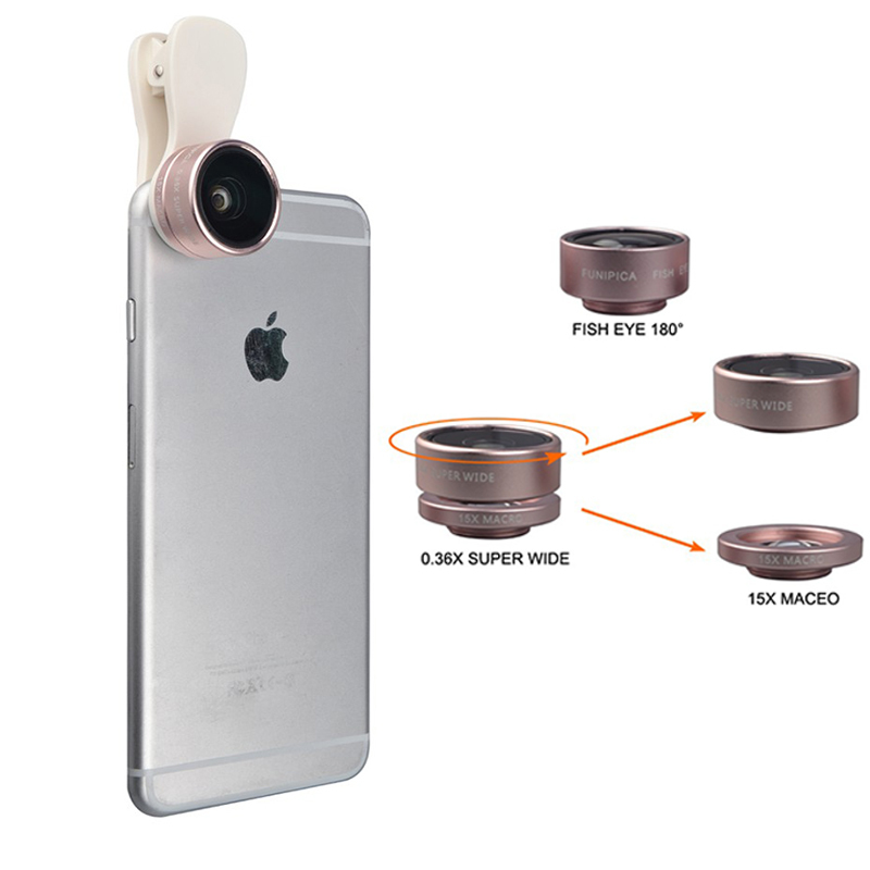 Clip-on 3in1 HD Lens Kit Fisheye 0.36X Wide Angle 15X Macro Mobile Phone Camera Lenses For iphone 4 4s 5 5s 5c SE 6 6s 7 Plus