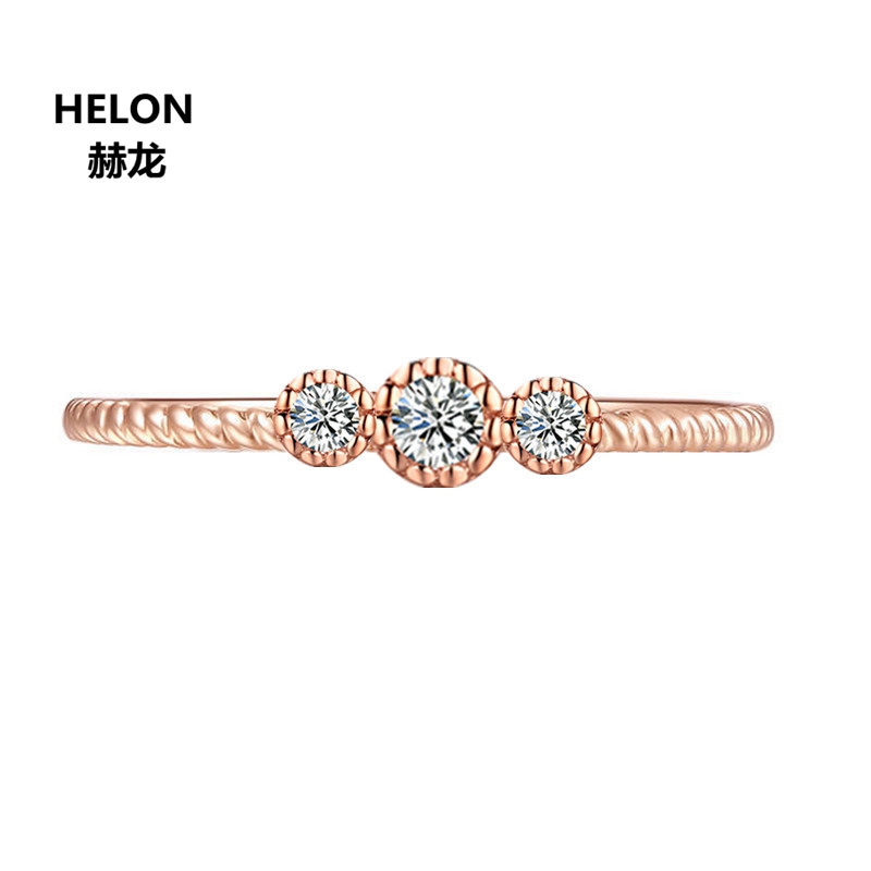 Solid 14k Rose Gold Women Engagement Wedding Ring VVS 0.3ct Moissanites Ring Annversary Party Fine Jewelry new solid au750 rose gold ring women cute link party ring can adjustable ring