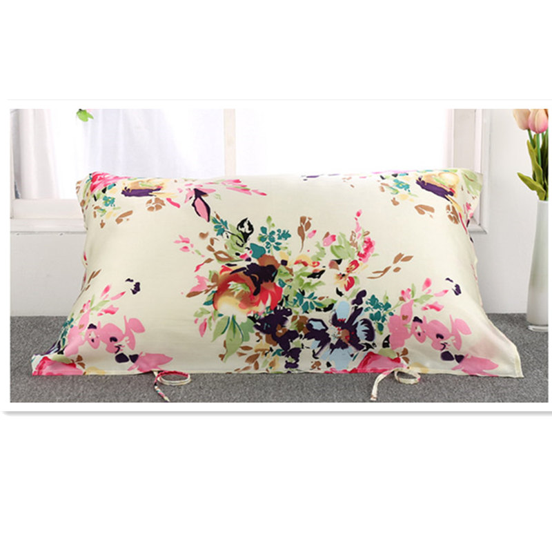 100% Pure Mulberry Silk Pillowcase 16momme Pillow Towel Silk Pillow Cover With Silk Ribbon Ties At The Backside