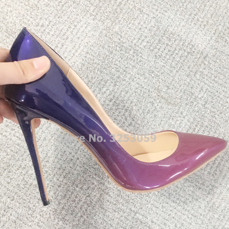 c1407628261 ALMUDENA Gradient Color Patchwork Patent Leather High Heel Shoes 12CM Thin  Heel Dress Pumps OL Ladies