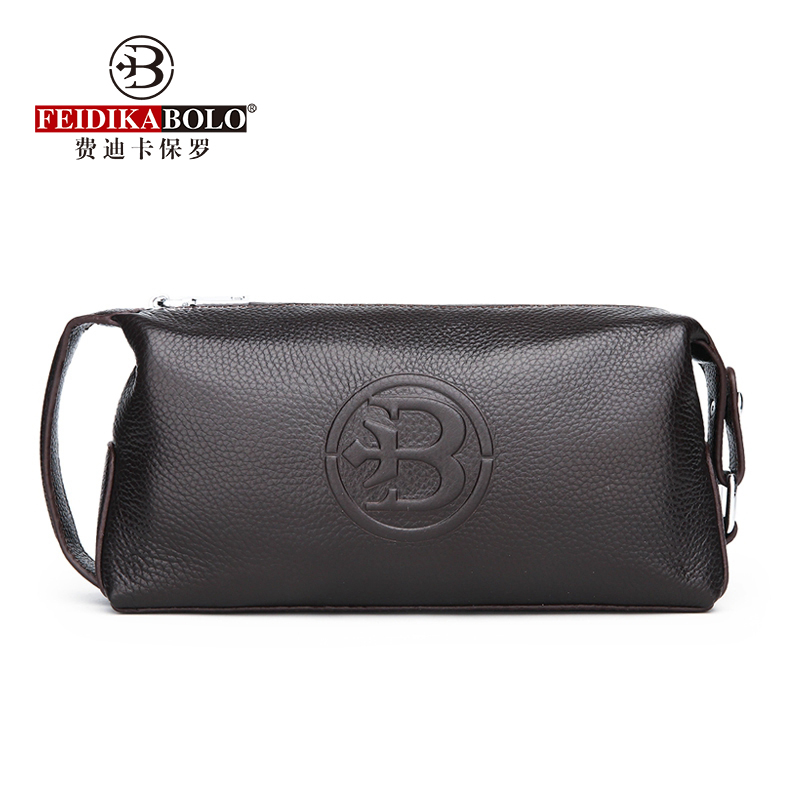 100% Genuine Leather Men Wallets Black Male Clutch Bags Cow Leather Men Purses Man Purse Fashion Long Men Clutches Top Quality