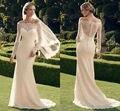 2017 Nova Moda Casablanca Vestido De Casamento Mangas Compridas sereia trem Tribunal de casamento vestidos de noiva frete grátis