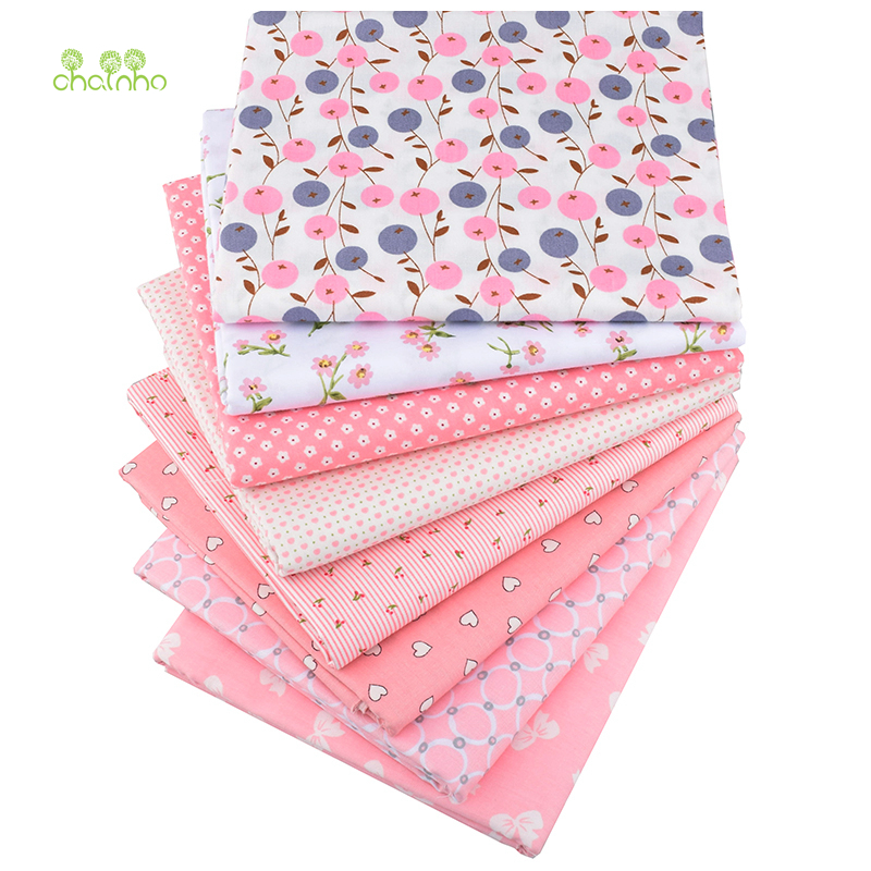 Chainho,8pcs/lot,Pink Floral Series,Printed Twill Cotton Fabric,Patchwork Cloth,DIY Sewing Quilting Material For Baby&Children