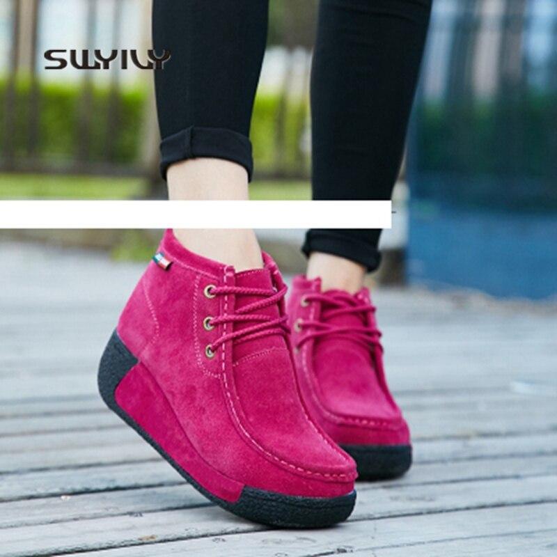 SWYIVY Women Sneakers 2018 Leather Winter Warm Short Boots Plus Velvet Cotton Shoes Women s Toning