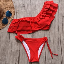 bikini 2019 sexy Bikini Set One Shoulder Womens Swimsuits brazilian swimsuit woman Swimwear Solid Bathing Suit