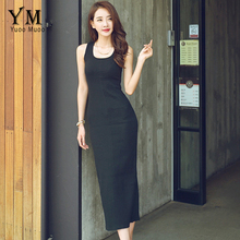 YuooMuoo, элегантное, летнее, сексуальное, вечернее, тонкое, облегающее, однотонное платье, эластичное, без рукавов, на бретелях, длинное, с разрезом, черные платья, женская одежда
