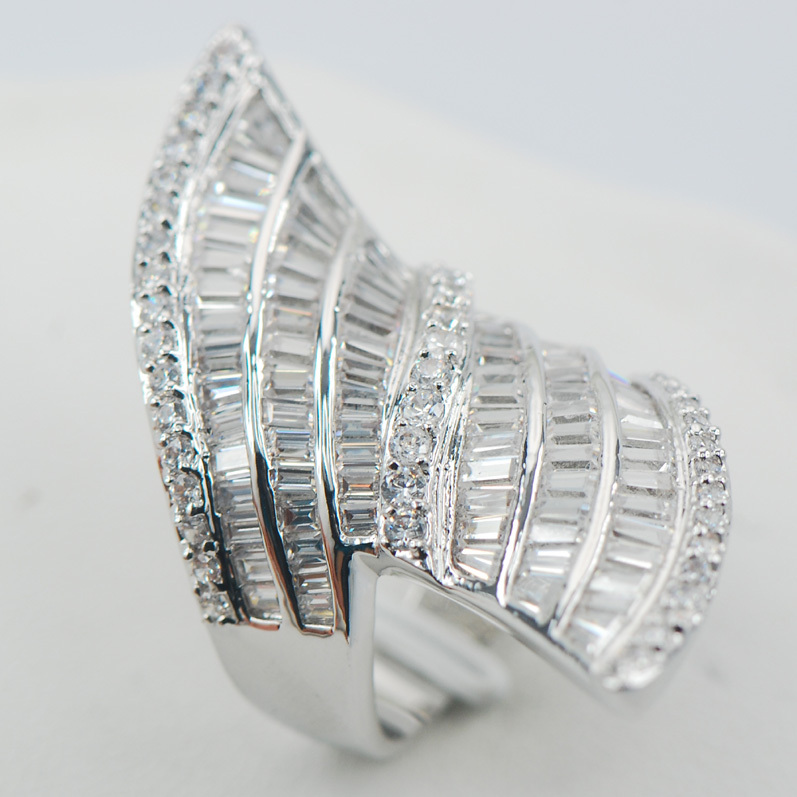Micropave Crystal Zircon White Crystal Zircon 925 Sterling Silver Ring Size 6 7 8 9 10 11 A15
