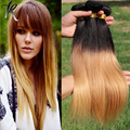 Honey Blonde Ombre Hair Extensions 4PCS Brazilian Virgin Hair Silky Straight Blonde Ombre Hair Weave Two Toned Remy Hair 03S402