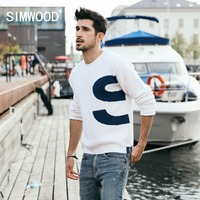 SIMWOOD 2019 Winter Sweater Men Knitted Pullovers Men Fashion Contrast Color Letter Printed Sueter Hombre Brand Sweaters 180594