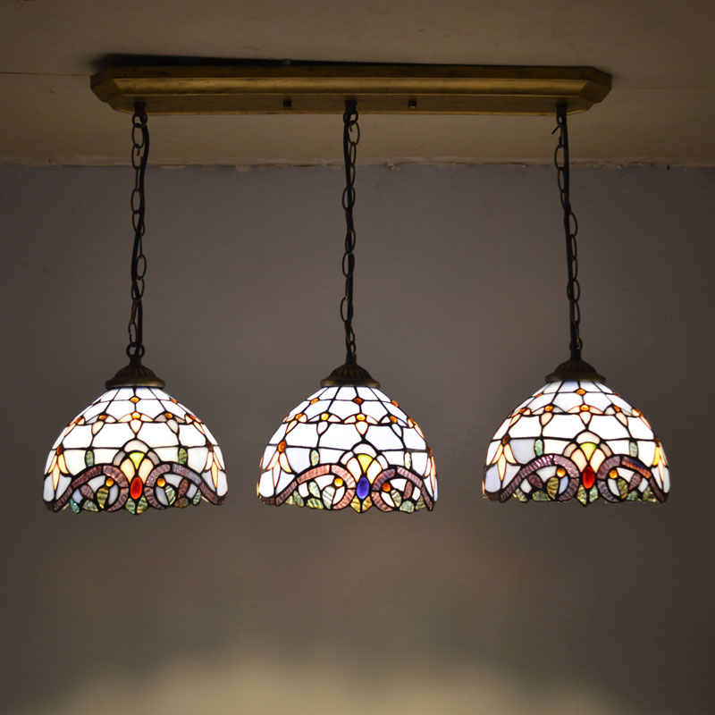 Tiffany Pendant Light Stained Glass Lampshade Baroque Style Dining Room Luminaires E27 110 240V in Pendant Lights from Lights Lighting