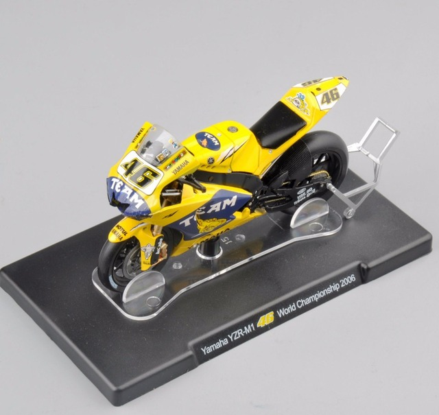 New 1/18 Scale Diecast Motorcycle Model Toys Yamaha YZR-M1 46# World Championship 2006 Yellow Model   Gifts Collections