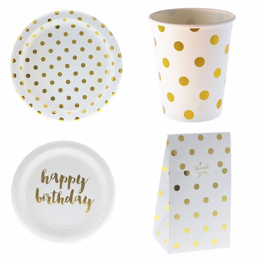 Gold Blocking Dot Happy Birthady Dinner Paper Tableware ...