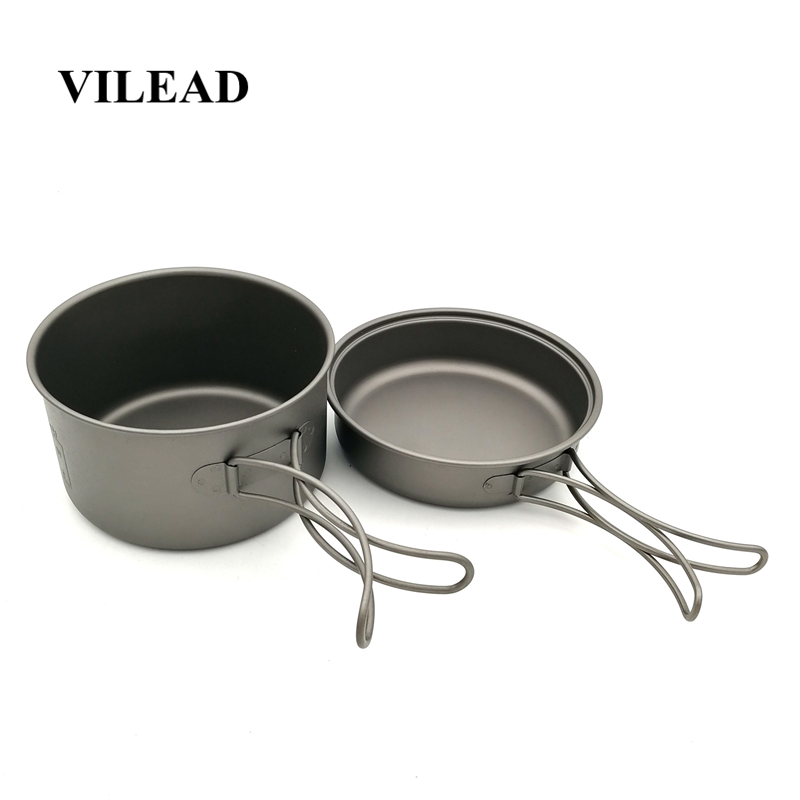 VILEAD Portable Titanium Camping Cookware Set 700ml Pot and 350ml Fry Pan with Folding Handles for Hiking Trekking Bushcraft