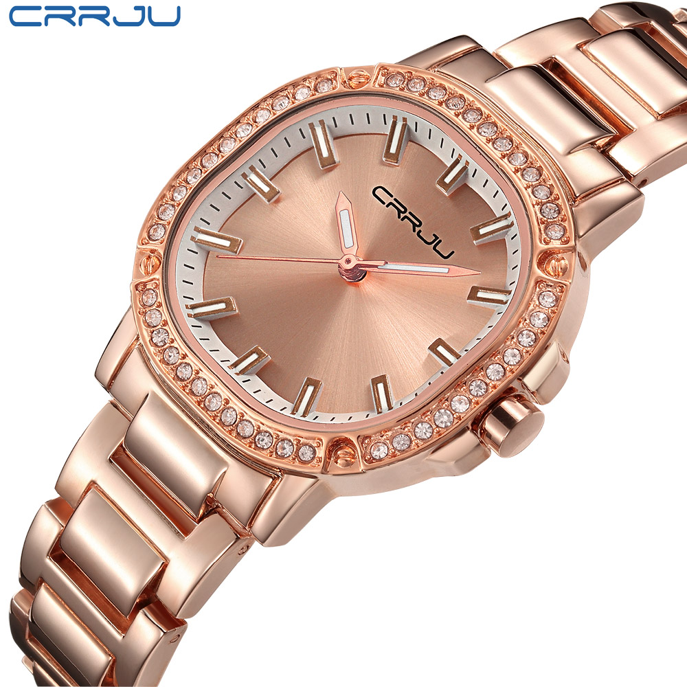 CRRJU Waterproof Rose Gold Watch Women Quartz Watches Ladies Top Brand Luxury Female Wrist Watch Girl Clock Relogio Feminino sinobi rose gold luxury wrist watch clock women reloj mujer ladies quartz watch women waterproof relogio feminino 2017 with date
