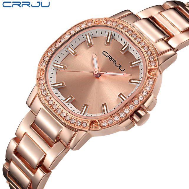CRRJU Waterproof Rose Gold Watch Women Quartz Watches Ladies Top Brand Luxury Fe
