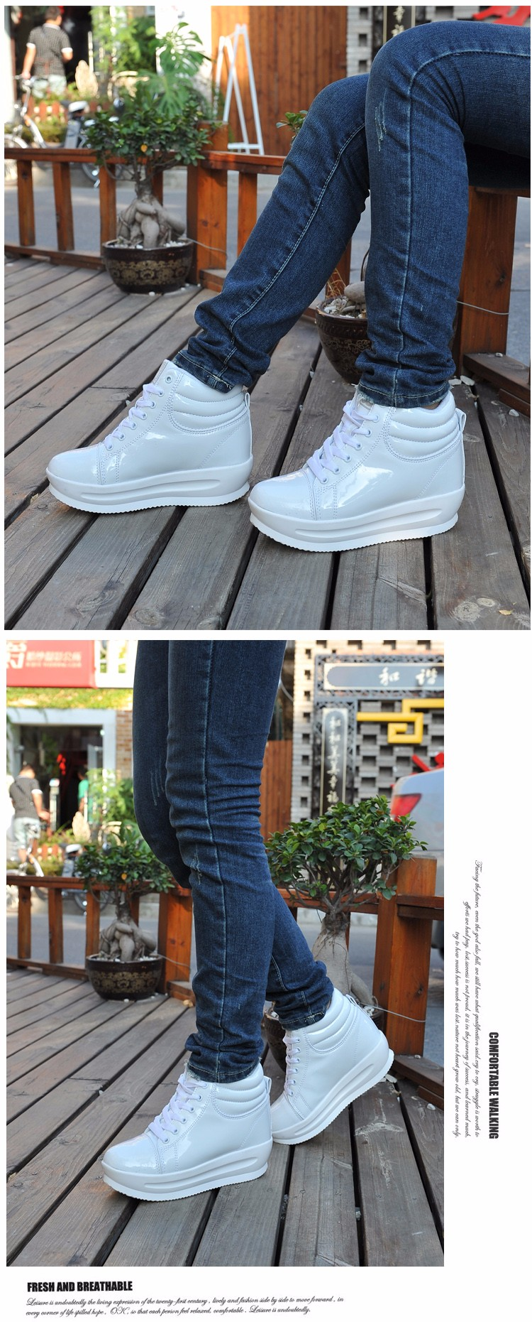 KUYUPP 2016 Fashion Hide Heel Women Casual Shoes Breathable Flat Platform Casual Women Shoes Patent Leather High Top Shoes YD105 (9)