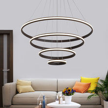 Brown/White Modern pendant lights for living room dining room 4/3/2 Circle Rings  aluminum body LED pendant Lamp lampadario modern pendant lights for living room dining room circle rings 3 rings 4 rings acrylic aluminum body led ceiling lamp fixtures