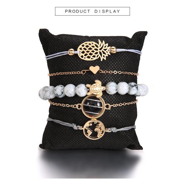 Фото браслеты diezi в богемном стиле с подвесками виде черепахи ананаса