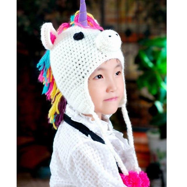 Прекрасный мультфильм шляпа для Обувь для девочек Обувь для мальчиков теплая вязаная зимняя Kawaii Кепки Единорог Hat для Для детей шапочки Детские Skullies шапочки
