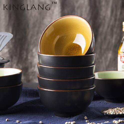 KINGLANG 1pc Japanese ice glazed ceramic bone china bowl household kitchen eating soup r ...