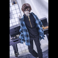 BYBJDHOME December new doll use Custom size Limited stock BJD Doll Clothes set Plaid jacket Black hooded sweater Pocket overalls
