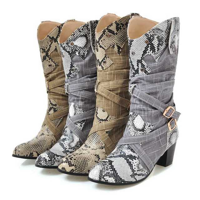 ANOVISHANA Winter boots women Western Cowboy Boots for women Snake Print Mid Calf Boots female Shoes booties botas mujer A693