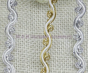 DIY golden&silver polyester yarn S type lace 1cm*500cm lace trim dress decoration