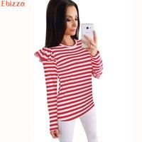 Ebizza Autumn Feifei Sleeve T Shirts For Women Striped Casual Long Sleeve Crop Tops Loose Female