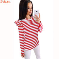 Ebizza Autumn Feifei Sleeve T Shirts For Women Striped Casual Long Sleeve Crop Tops Loose Female